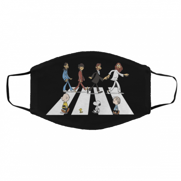 charlie brown snoopy linus the beatles abbey road face mask 274503