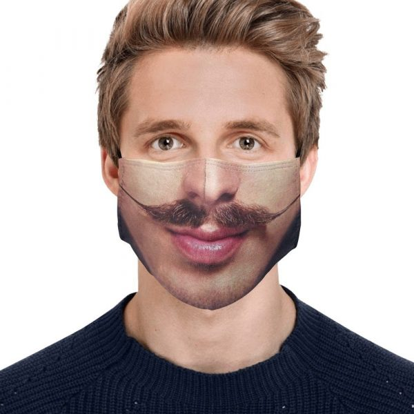 man with moustache face mask
