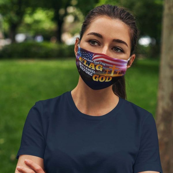 I Stand For The Flag and I Kneel Before God Face Mask Washable Reusable