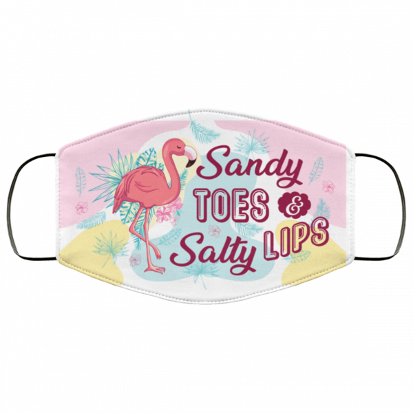 sandy toes and salty lips flamingo cloth face mask