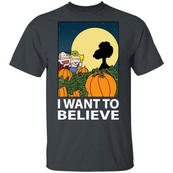 The Great Pumpkin I Want To Believe Halloween Snoopy shirt