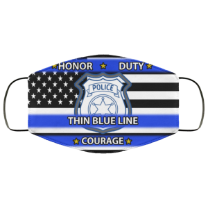 Police Honor Duty Thin Blue Line Courage Face Mask