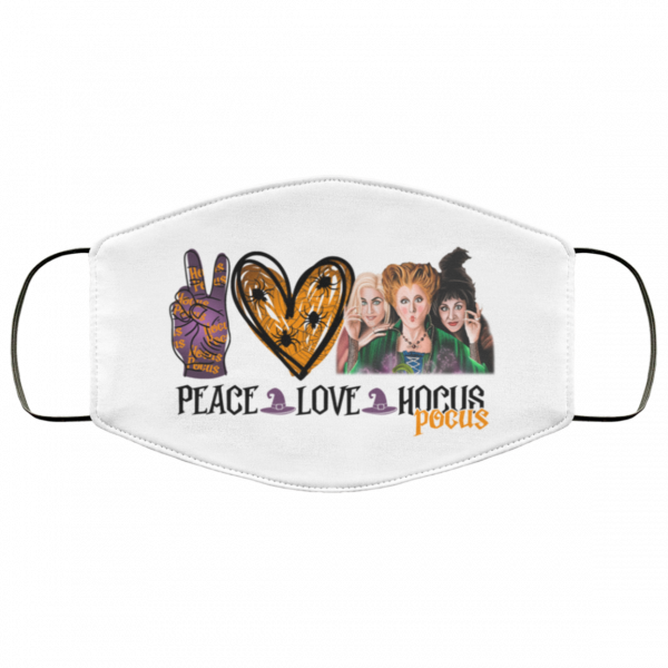 Peace Love Three Witches Hocus Pocus Halloween Face Mask