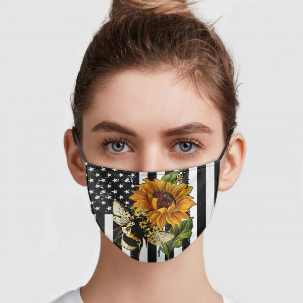 Bee And Sunflower America Flag Face Mask