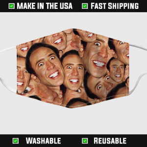 Nicolas Cage Face Collage Face Mask