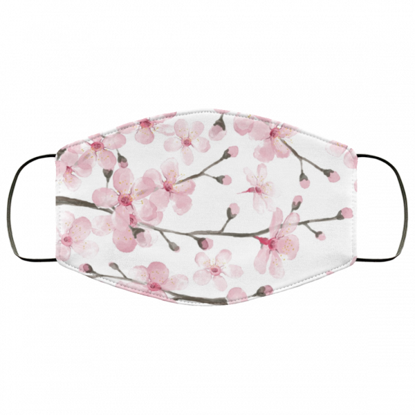 Pink Cherry Blossom Watercolor Face Mask