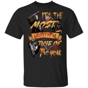 Horror Characters Halloween It's The Most Wonderful Time of The Year Blood shirt